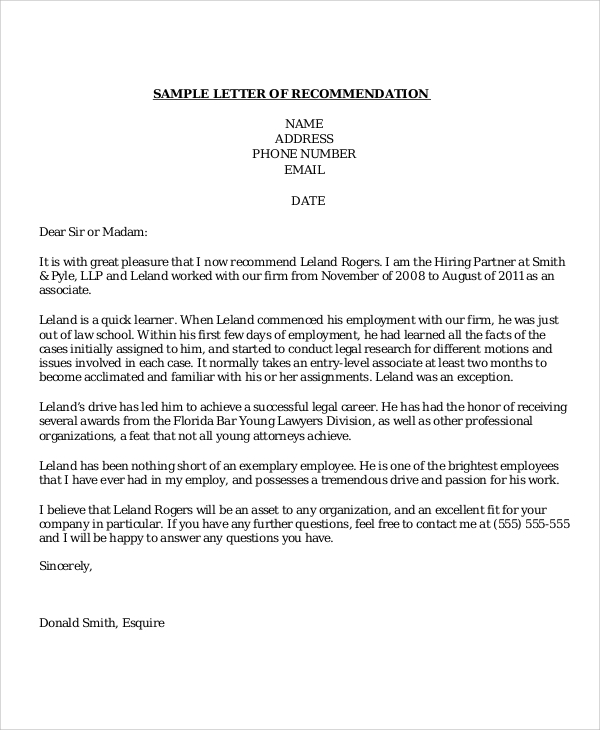 Sample Recommendation Letter   Examples In Word Pdf