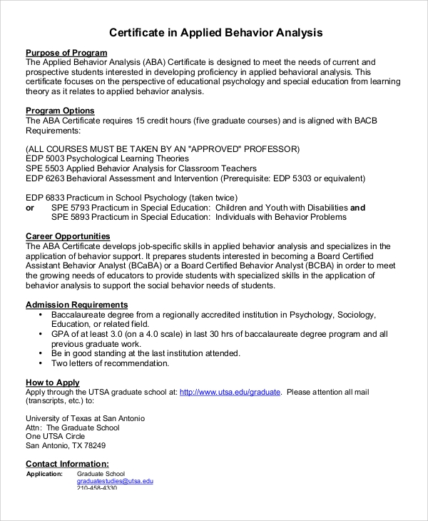 Behavior Analysis Samples Aba Tutor Sample Tutor Resume Rfi Cover