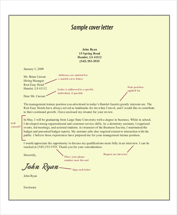 cover letter format for job application examlple