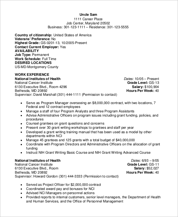 Free 8 Sample Federal Resume Templates In Ms Word Pdf