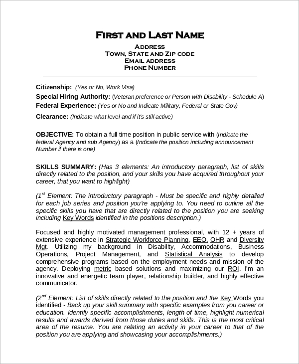 Job Resume Templates Examples: 8+ Sample Federal Resumes