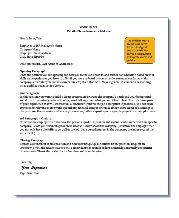 Language of Narration Description professional cover letter