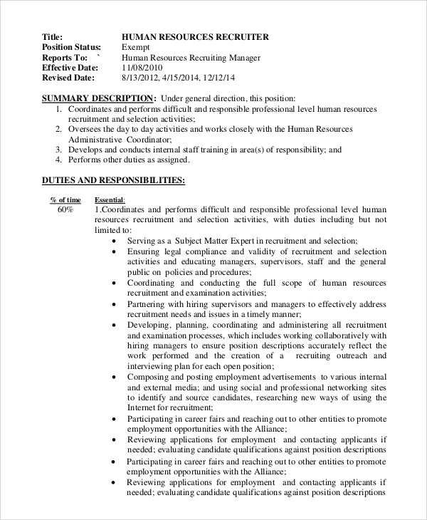 Sample Recruiter Job Description   Examples In Pdf Word