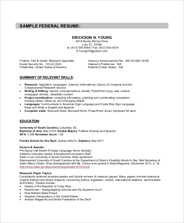 Sample Federal Resume   Examples In Word Pdf