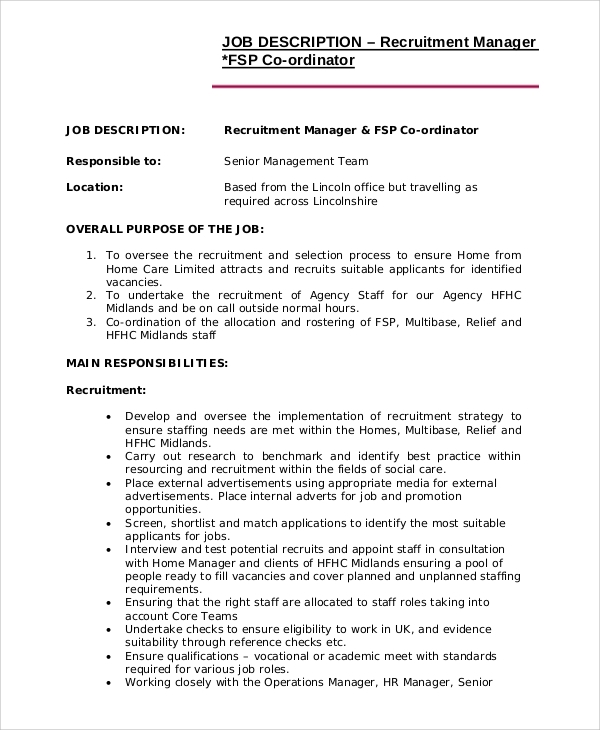 recruiting manager job description