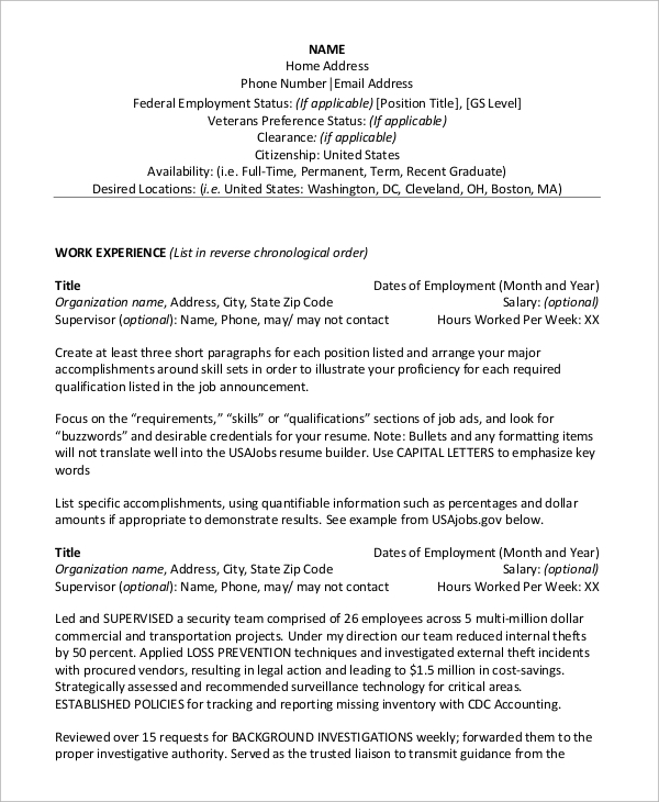 Federal Resume. Federal Jobs Resume Examples Us Resume Samples ...