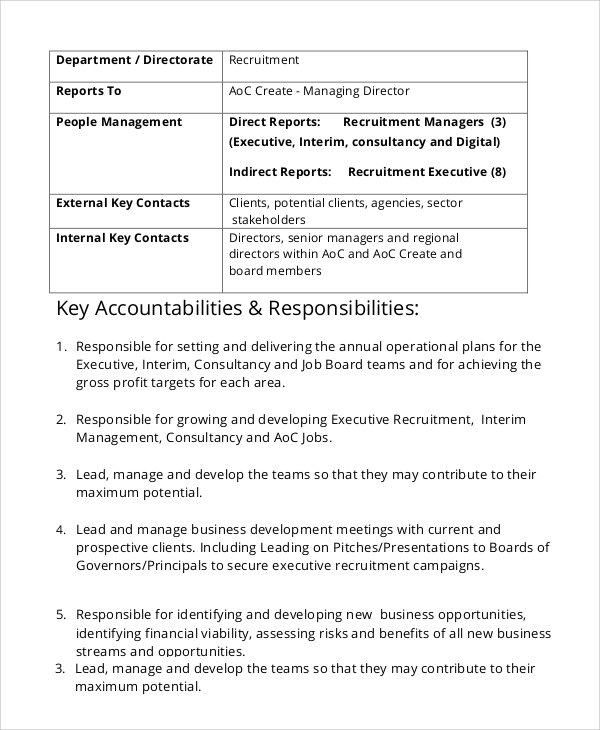 Sample Recruiter Job Description - 7+ Examples in PDF, Word