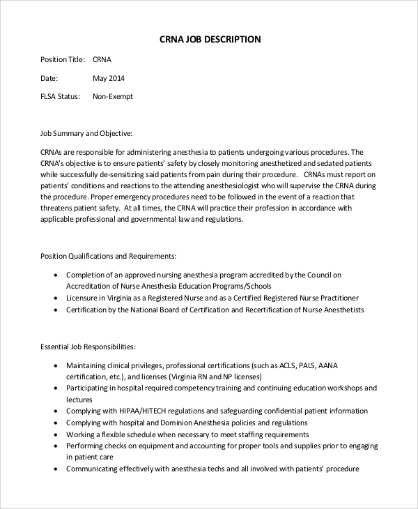 Sample Registered Nurse Job Description 8 Examples in PDF Word – Rn Job Description