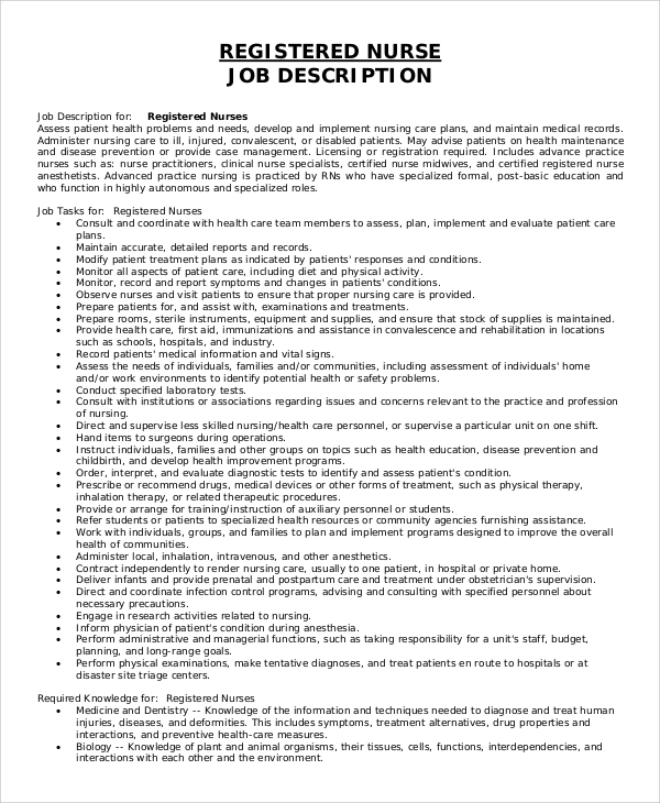 Sample Registered Nurse Job Description - 8+ Examples In Pdf, Word