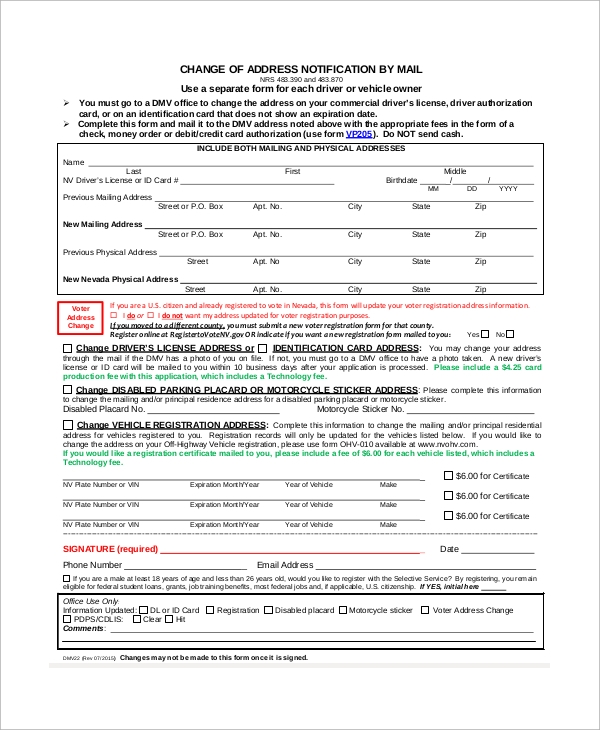 Sample DMV Change of Address Form - 8+ Examples in PDF