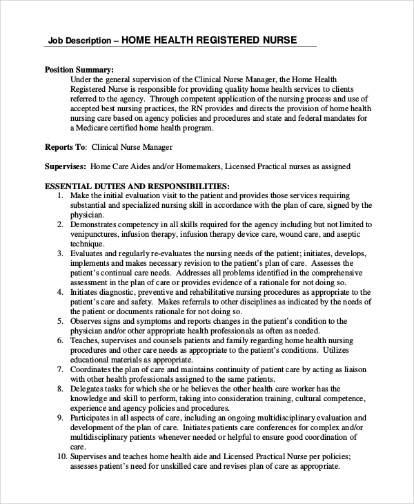 Sample Registered Nurse Job Description   Examples In Pdf Word