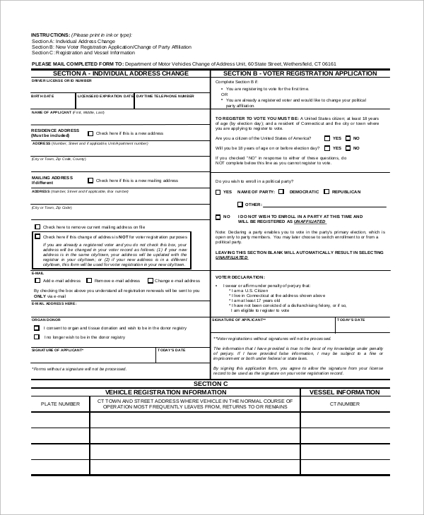 Sample Dmv Change Of Address Form   Examples In Pdf