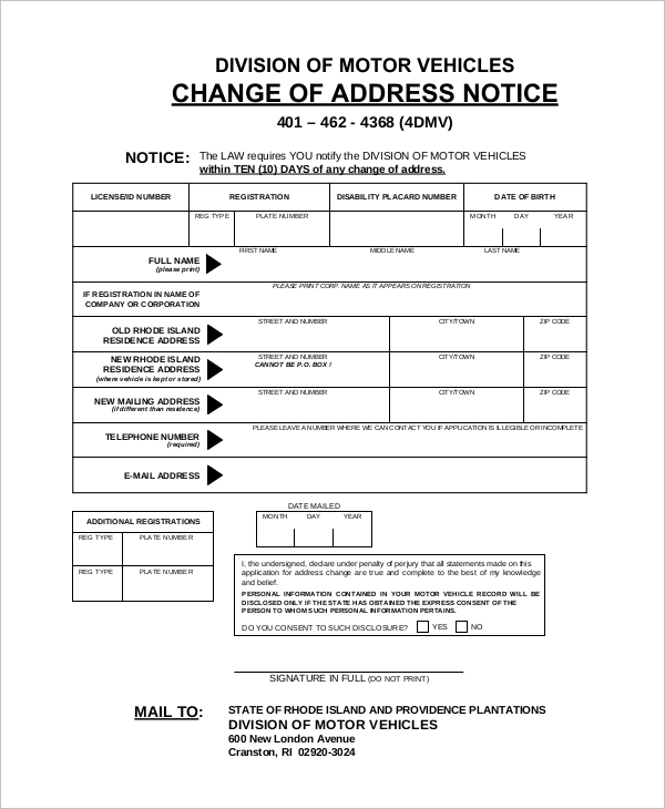 Sample dmv change of address form 8 examples in pdf dmv vehicle change of address sample form spiritdancerdesigns Gallery