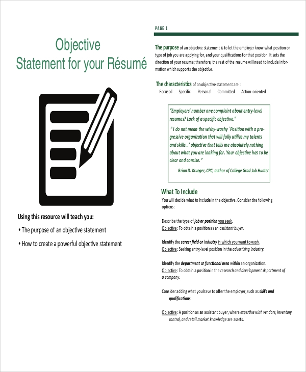 Job Resume Templates Examples: Sample Resume Objective Statement