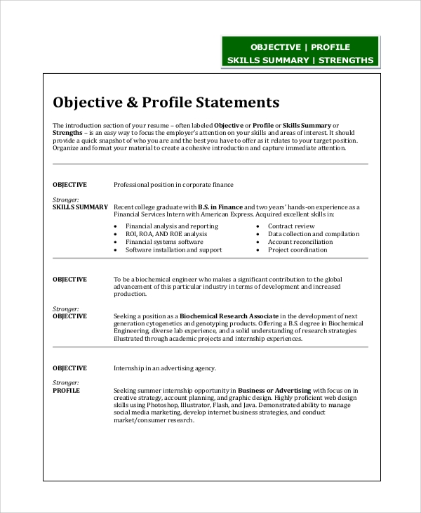 Sample Resume Objective Statement - 8+ Examples in PDF