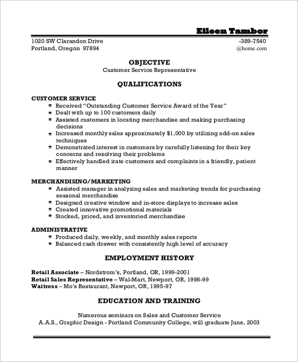 customer service resume objective statement jpg