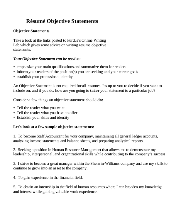 Example Objective Statements  General Resume Objective Statements
