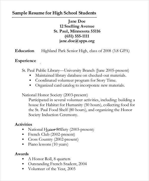 sample resume for high school student
