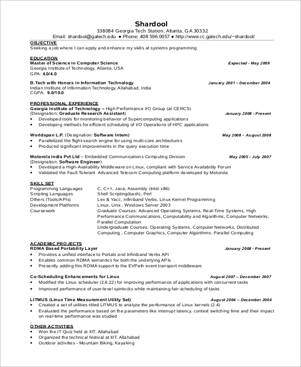 sle computer science resume 8 exles in word pdf