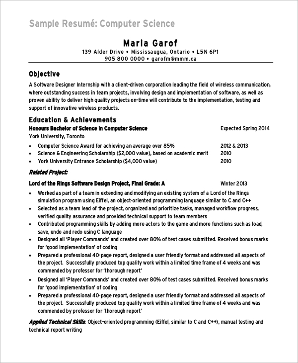 Sample Computer Science Resume   Examples In Word Pdf