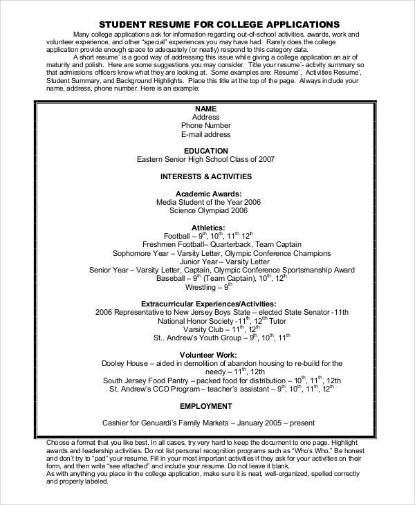 college resume exle 8 sles in word pdf