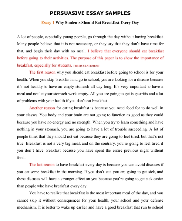 Sample essay for kids