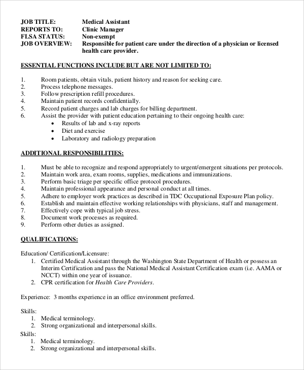 medical office assistant job description sample - Office Assistant Job Description