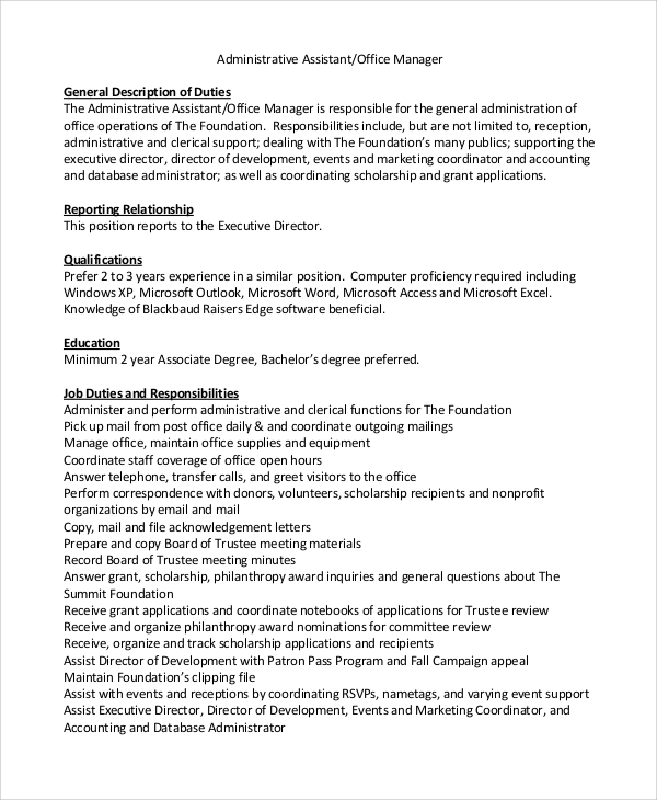 8 office assistant job description samples sample templates - Office administration executive job description ...
