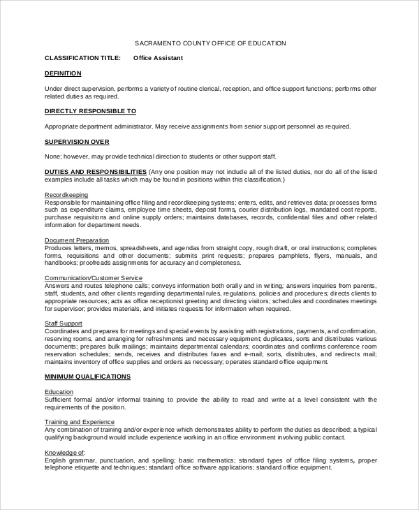 free 8  sample office assistant job description templates