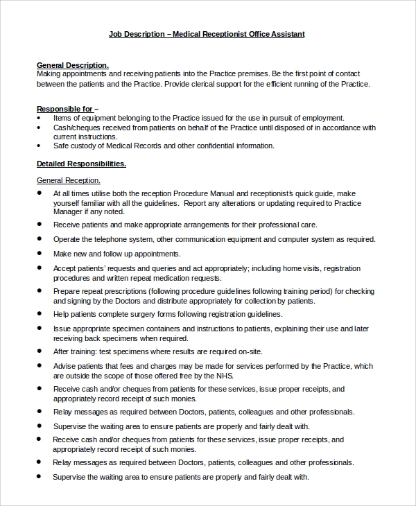 Sample Office Assistant Job Description   Examples In Pdf Word