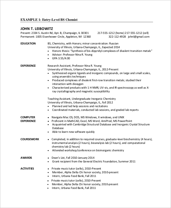 Sample Entry Level Resume - 9+ Examples In Word, Pdf