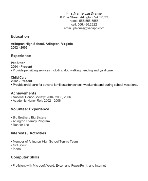9+ Sample Entry Level Resumes