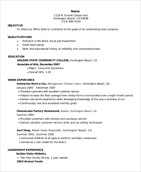 sample entry level resume 9 examples in word pdf
