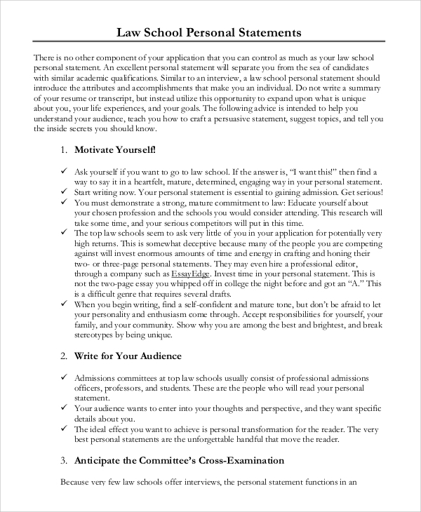 personal essays for law school Five sample law school personal statements with commentary on three of them also, links to 20+ other example law school personal statements.