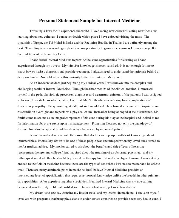 Sample Personal Statement Format - 9+ Examples In Pdf, Word