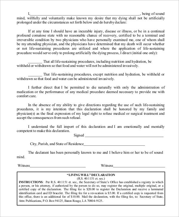will declaration form
