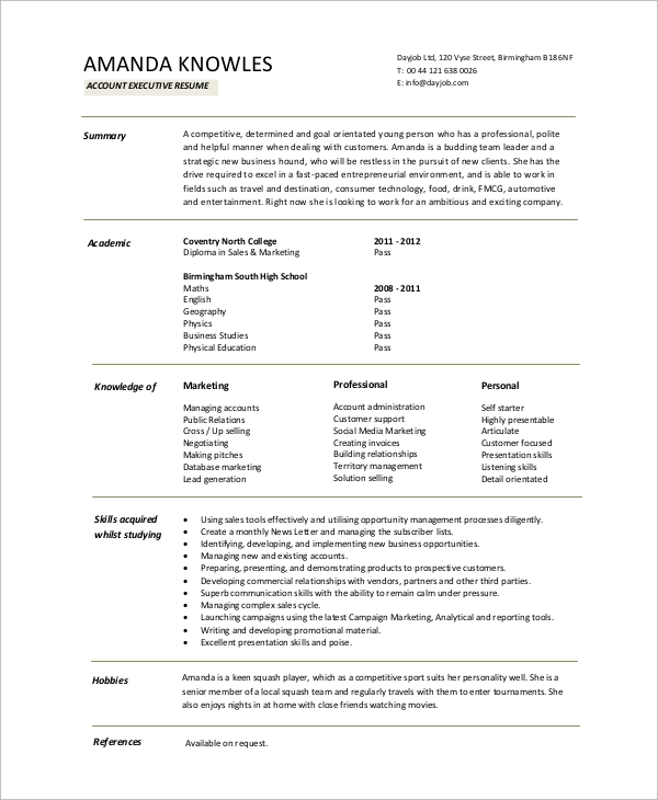 example of executive resumes