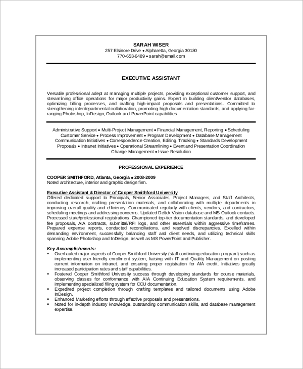 8 sample executive resumes sample templates for Sample resume for executive assistant to senior executive