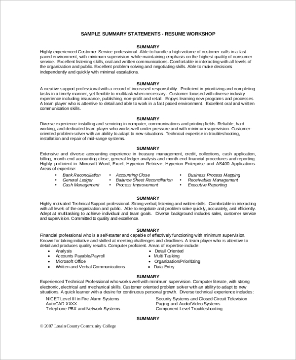 Executive summary resume example