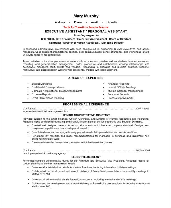 Sample Executive Resume 10 Examples In Word Pdf