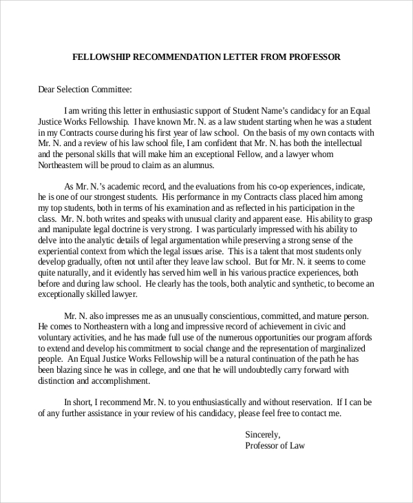 Sample recommendation letter 9 examples in word pdf fellowship recommendation letter sample spiritdancerdesigns Images