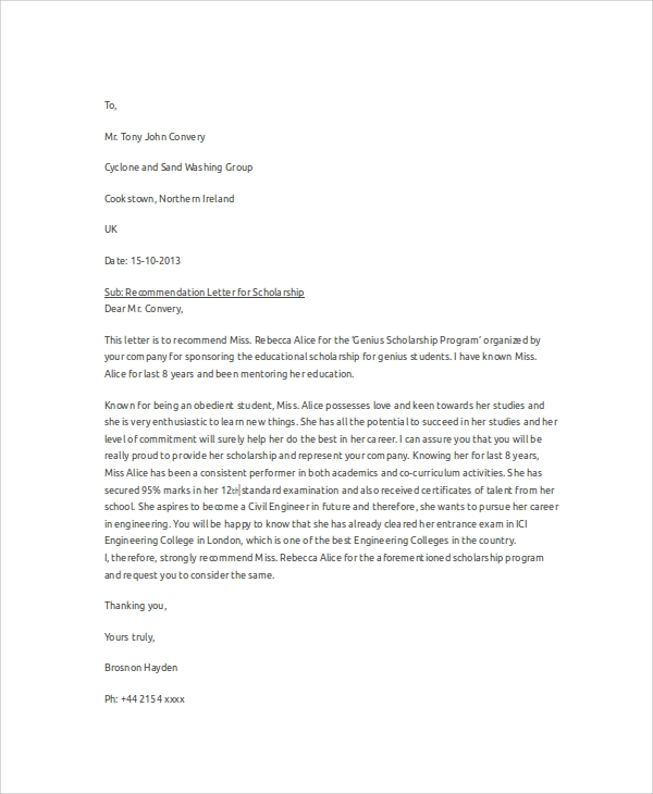 sample recommendation letter for scholarship