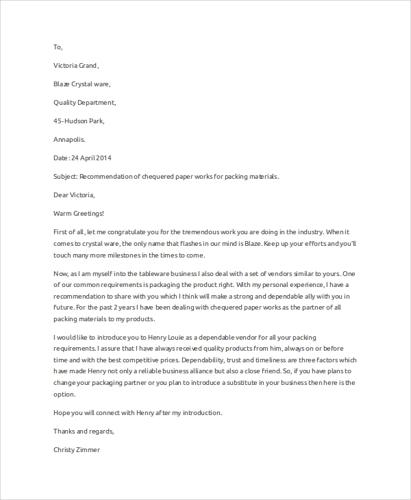 Sample recommendation letter 9 examples in word pdf business recommendation letter example spiritdancerdesigns Image collections