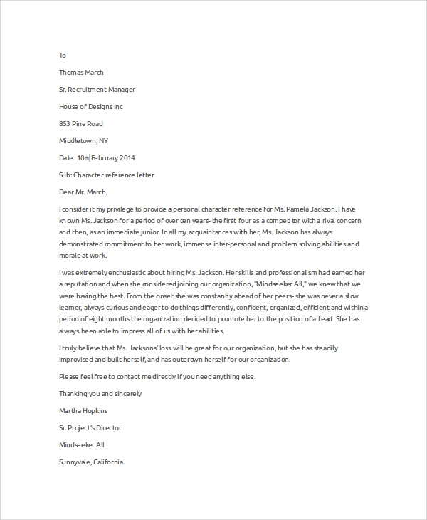 Sample Character Reference Letter - 6+ Examples In Word, Pdf