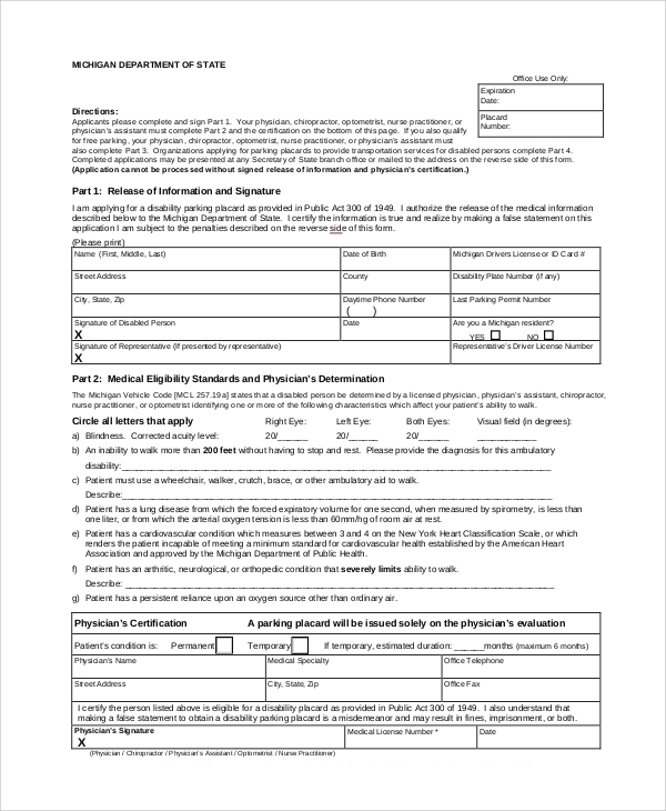 disability parking application form