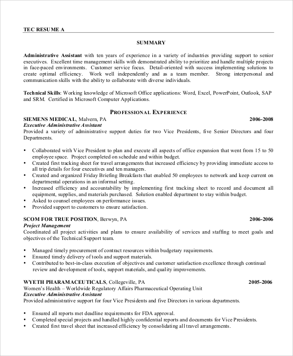 sle administrative assistant resume 8 exles in