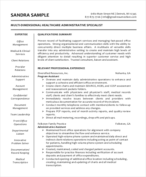 Sample Administrative Assistant Resume   Examples In Word Pdf