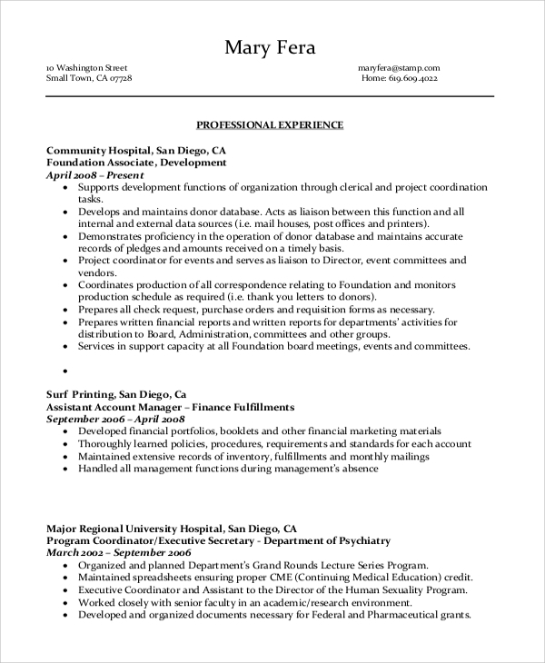 Senior Administrative Assistant Resume