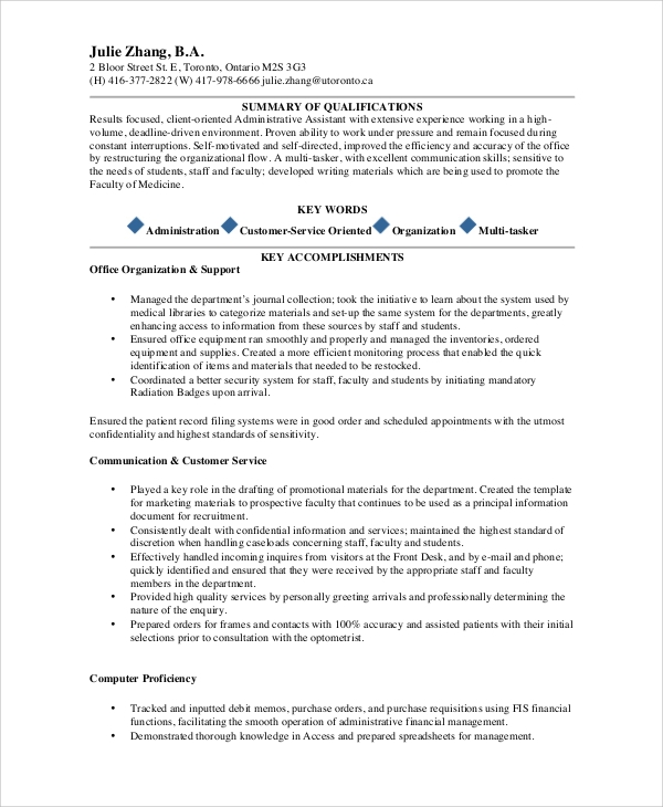 Sample Administrative Assistant Resume 9 Examples In Word