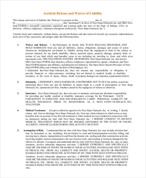Sample Waiver of Liability 8 Examples in PDF Word – Sample Waiver of Liability